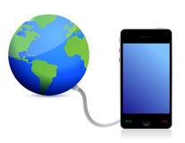 Globe connected to a phone Royalty Free Stock Images