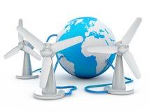 Globe connected to three wind turbines Stock Photos