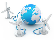 Globe connected to three wind turbines Stock Image
