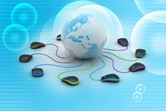Globe connecting with computer mouse Royalty Free Stock Photos