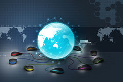 Globe connecting with computer mouse Royalty Free Stock Images