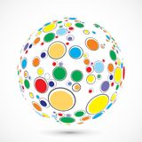 Globe consist of color circles Royalty Free Stock Photography