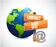 Globe and contact us sign , illustration Stock Images