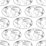 Globe contour pattern. Seamless pattern of the contour elliptic globes. Elements of this image furnished by NASA. Source of map Royalty Free Stock Photos