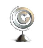 Globe copyright sign 3d Illustrations. On a white background Stock Photos