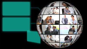 Globe of corporate businesss videos stock footage