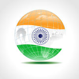 Globe covered with an Indian flag. Stock Images