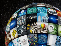 Globe covered with TV screens Stock Photos