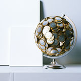 Globe created of euro coins and mock clear poster Royalty Free Stock Photos