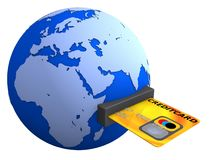 Globe and credit card Royalty Free Stock Photos