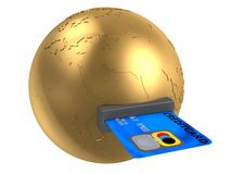 Globe and credit card Stock Image