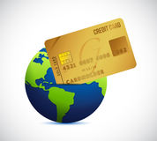 Globe and credit card illustration design Royalty Free Stock Images