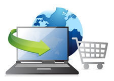 Globe, credit card and shopping cart Royalty Free Stock Photo