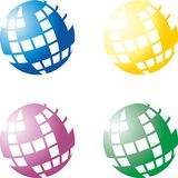 Globe of crossword. Set of four globes made of crosswords Royalty Free Stock Image