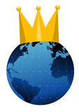 Globe and crown. Earth and cake created in illustrator Stock Photos