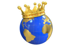 Globe with crown, 3D rendering Royalty Free Stock Image