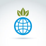 Globe with crown of leaves growing icon, ecological environment. Theme concept, vector conceptual unusual symbol for your design Royalty Free Stock Photo
