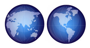 Globe Crystal. Globe in crystal blue crystal effect featuring the continents Royalty Free Stock Images
