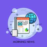 Globe, cup of coffee and electronic newspaper displayed on tablet screen. Morning news, online publication concept. Vector illustration for banner, brochure Royalty Free Stock Photography