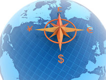 Globe with currency symbols Stock Images