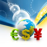 Globe with currency symbols Stock Photography
