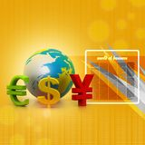 Globe with currency symbols Stock Photo