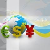 Globe with currency symbols Royalty Free Stock Photo