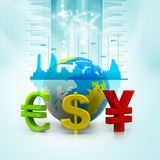 Globe with currency symbols Stock Image