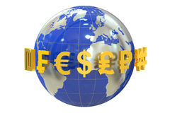 Globe with currency symbols Royalty Free Stock Image