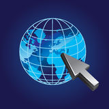 Globe and cursor. Vector illustration Stock Images