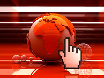 Globe and cursor hand Stock Photos