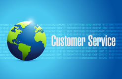 Globe customer service sign illustration design Stock Photos