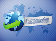 Globe with a customization message illustration Royalty Free Stock Photos