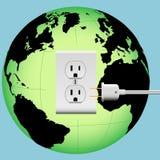 Globe d'énergie de sortie de fiche électrique de la TERRE Image libre de droits