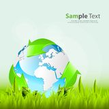 Globe with 3d arrows in the grass. Ecology concept design Stock Photography