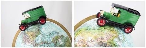 Globe d'atlas de voyage d'automobile de voiture Photo libre de droits