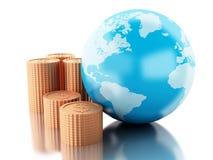 globe 3d avec des pièces de monnaie Concept global d'argent Images libres de droits