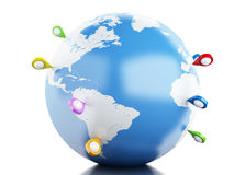 globe 3D avec l'indicateur de carte Photo stock