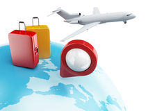 globe 3D avec l'indicateur, l'avion et la valise de carte Photo stock