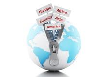 globe 3d avec la tirette ouverte et le poteau indicateur avec des continents Photo stock