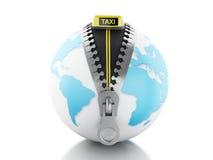 globe 3d avec la tirette ouverte et le signe de taxi Photos stock