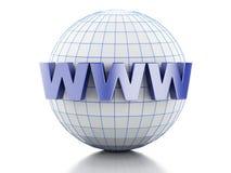 globe 3D avec le texte WWW Images stock