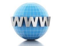 globe 3D avec le texte WWW Photographie stock libre de droits