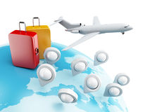 globe 3D avec les indicateurs, l'avion et la valise de carte Photographie stock libre de droits