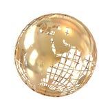 Globe d'or d'isolement sur le blanc Photographie stock