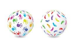 Globe d'impression de main et de pied illustration de vecteur