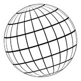 Globe 3D model of the Earth or planet, model of the celestial sphere with coordinate grid. Globe 3D model of the Earth or of the planet, model of the celestial Stock Photography