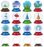 Globe 3D réglé de neige de Noël images stock