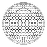 Globe 3D sphere with ring mesh on the surface, vector of the round structure of the sphere. Globe 3D sphere with ring mesh on the surface, the vector of the Royalty Free Stock Photos