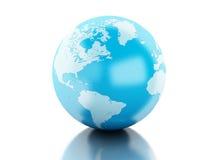 globe 3d sur le fond blanc d'isolement Photographie stock